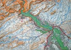 Carte topographique de la partie nord-est de l'oasis de Todgha, des gorges à la ville de Tinghir.