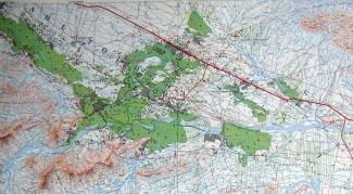 Carte topographique de l'oasis de Todgha, de Tinghir à Tagzout au sud-ouest.